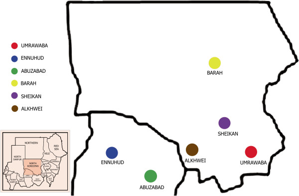 Map of different localities in North Kordufan State Sudan
